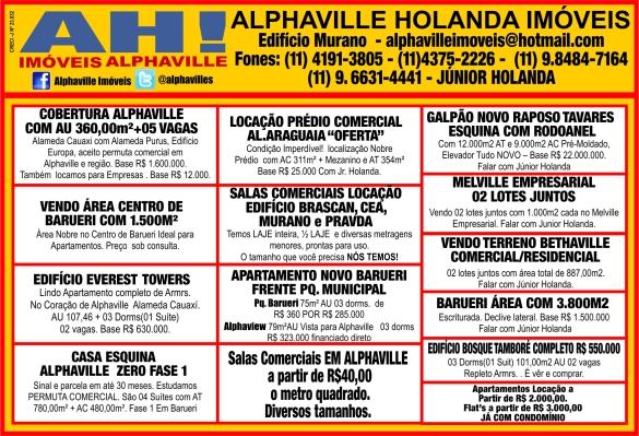 Anúncios no Jornal Folha de Alphaville da Imobiliária Alphaville Holanda Imóveis - Creci J-23632 SP