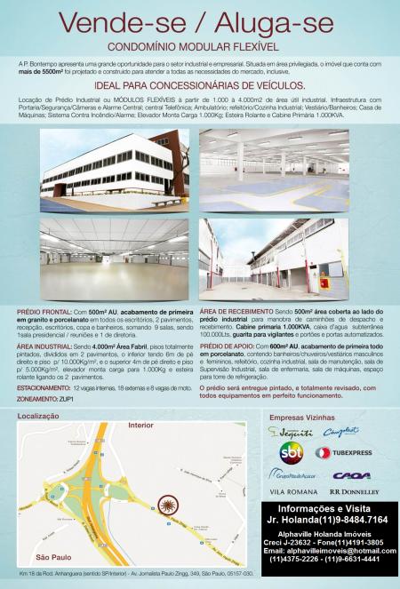 Galpão Industrial Empresarial localizado na Rodovia Anhanguera altura Km 18 Sentido São Paulo/Interior.