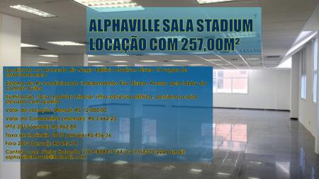 ALPHAVILLE Sala stadium locação com 257,00m²