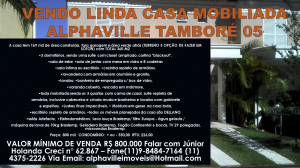 Linda Casa Completamente Mobiliada no Residencial Tamboré 05 em Alphaville. Clique na imagem e veja em tamanho real.