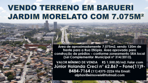 VENDO TERRENO EM BARUERI JARDIM MORELATO COM 7